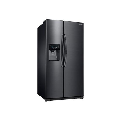 Samsung - 25 cu. ft. Food ShowCase Side-by-Side Refrigerator with Metal Cooling in Black Stainless Steel