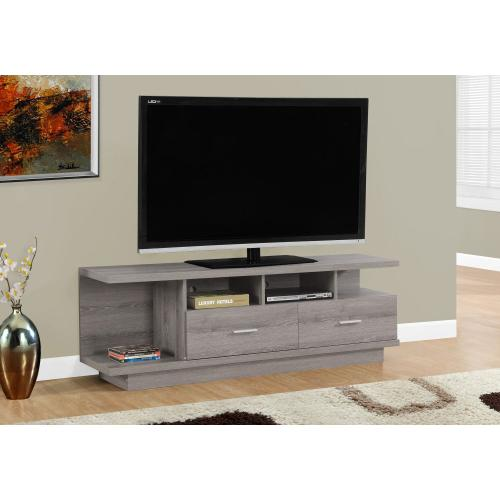 "TV STAND - 60""L / DARK TAUPE WITH 2 DRAWERS"