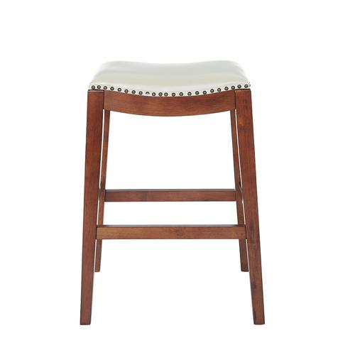 """Metro 29"""" Saddle Stool With Nail Head Accents and Espresso Finish Legs With Cream Bonded Leather"""