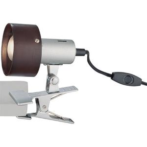Clip-on Lamp, Silver, Dark Walnut Shade, E17 Type R 40w
