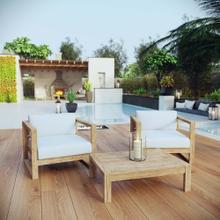 Upland 3 Piece Outdoor Patio Teak Set in Natural White