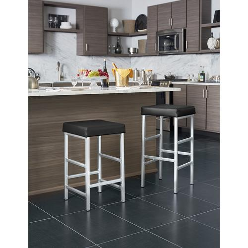"Backless 26"" Counter Height Bar Stool Polished Chrome Frame"