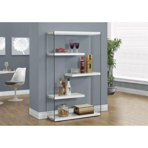 """Gallery - BOOKCASE - 60""""H / GLOSSY WHITE WITH TEMPERED GLASS"""