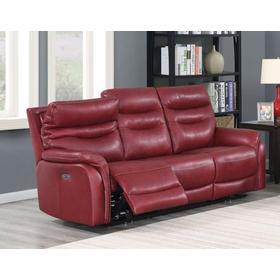 Fortuna Leather Dual-Power Reclining Sofa, Wine
