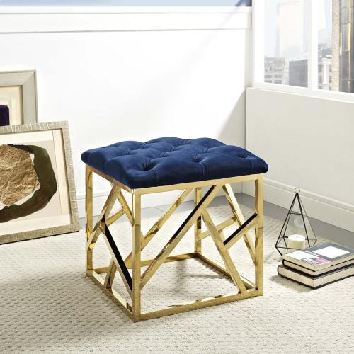 Intersperse Ottoman in Gold Navy