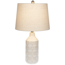 Ivory Reactive Glaze Embossed Floral Table Lamp. 60W Max. (CB173162) (4 pc. assortment)