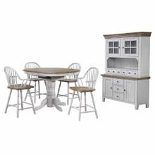 Product Image - Round or Oval Extendable Pub Table Set - Distressed Gray & Brown (6 Piece)