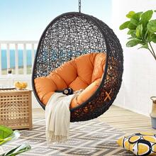 Encase Swing Outdoor Patio Lounge Chair Without Stand in Black Orange