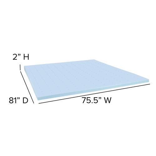 Flash Furniture - Capri Comfortable Sleep 2 inch Cool Gel Memory Foam Mattress Topper - King