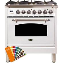 See Details - Nostalgie 30 Inch Dual Fuel Natural Gas Freestanding Range in Custom RAL Color with Bronze Trim