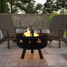 """See Details - 29"""" Round Wood Burning Firepit with Mesh Spark Screen"""