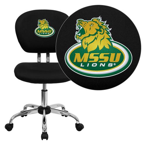 Missouri Southern State University Lions Embroidered Black Mesh Task Chair with Chrome Base