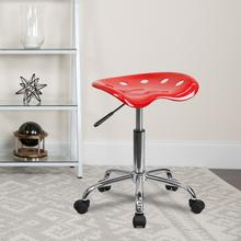 View Product - Vibrant Red Tractor Seat and Chrome Stool