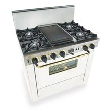 "36"" Dual Fuel, Convect, Self-Clean, Open Burners, White with Brass"