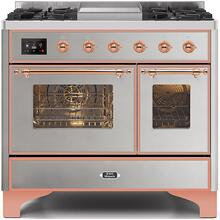 Majestic II 40 Inch Dual Fuel Natural Gas Freestanding Range in Stainless Steel with Copper Trim
