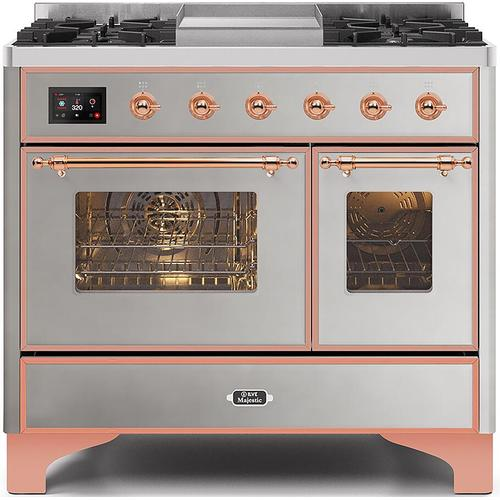 Ilve - Majestic II 40 Inch Dual Fuel Natural Gas Freestanding Range in Stainless Steel with Copper Trim