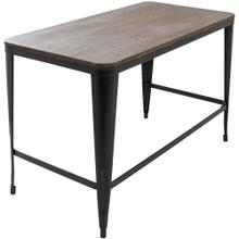 Pia Office Desk - Black Metal, Espresso Bamboo