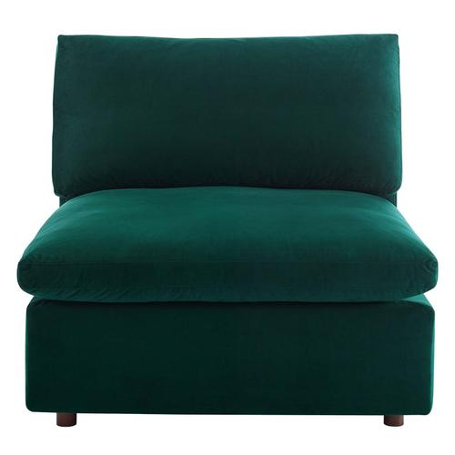 Commix Down Filled Overstuffed Performance Velvet Armless Chair in Green