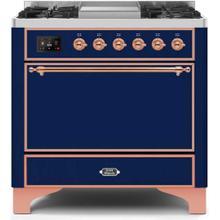Majestic II 36 Inch Dual Fuel Liquid Propane Freestanding Range in Blue with Copper Trim