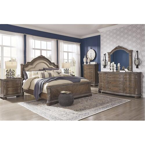 Queen Upholstered Sleigh Bed With Mirrored Dresser