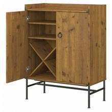 Ironworks Bar Cabinet with Wine Storage - Vintage Golden Pine