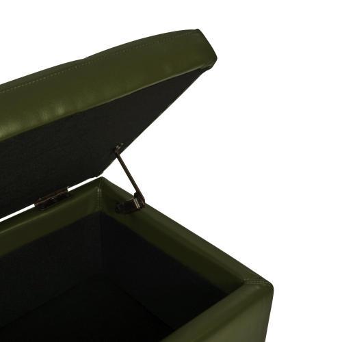 Julian Rectangular Bonded Leather Storage Ottoman, Asparagus