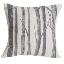 Printed Branches Cream & Gray Throw Pillow