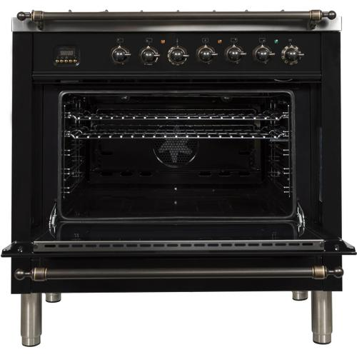 Ilve - Nostalgie 36 Inch Dual Fuel Natural Gas Freestanding Range in Glossy Black with Bronze Trim