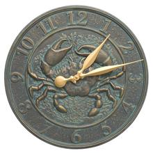 "Crab Sea Life 16"" Indoor Outdoor Wall Clock - Bronze Verdigris"