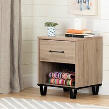 Industrial 1-Drawer Nightstand with Open Storage Space - Rustic Oak