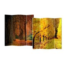 See Details - 4-Panel Double Sided Painted Canvas Room Divider Screen Fall Street
