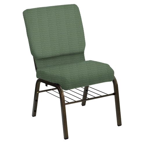 Flash Furniture - HERCULES Series 18.5''W Church Chair in Bedford Lawn Fabric with Book Rack - Gold Vein Frame