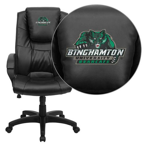 Binghamton University Bearcats Embroidered Black Leather Executive Office Chair