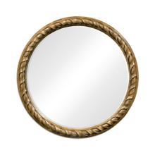 Large Round English Brown Oak Hanging Mirror