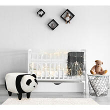 "Critter Sitters Plush Panda Storage Animal Ottoman Furniture for Nursery, Bedroom, Playroom & Living Room Decor, 14"" Seat Height, CSPDAOTT-BLKWHT"