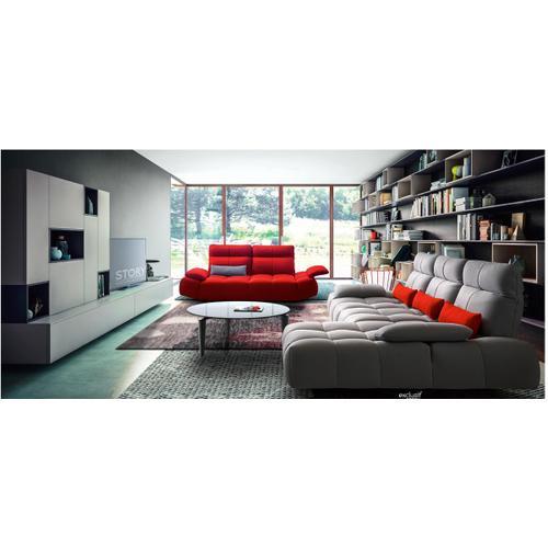 David Ferrari Baloon Modern Grey & Red Fabric Sectional & Sofa Set