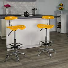 View Product - Vibrant Yellow and Chrome Drafting Stool with Tractor Seat