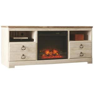 """Signature Design By Ashley - Willowton 64"""" TV Stand With Electric Fireplace"""