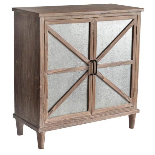 Product Image - Newhart Rustic Wood and Galvanized Metal 2 Door Cabinet