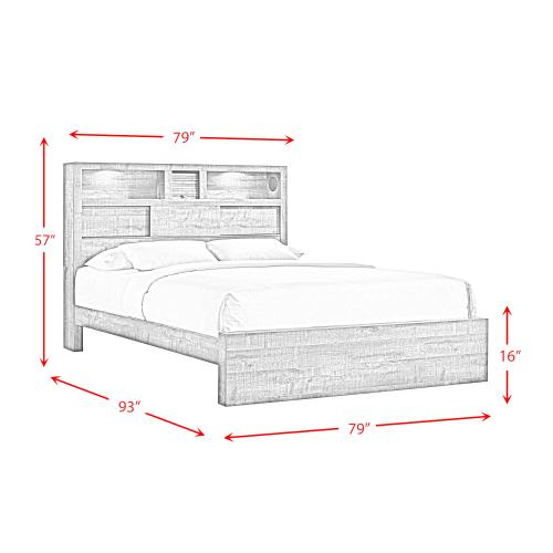 Bailey King Bookcase Panel Bed with Bluetooth