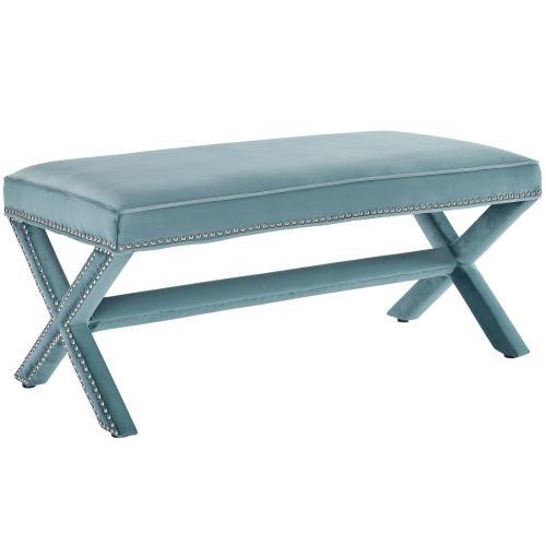 Modway - Rivet Performance Velvet Bench in Sea Blue