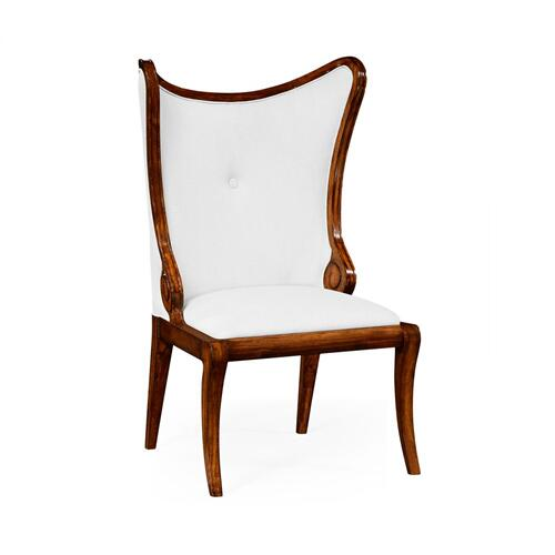 "Walnut ""Butterfly"" Upholstered Side Chair - COM"