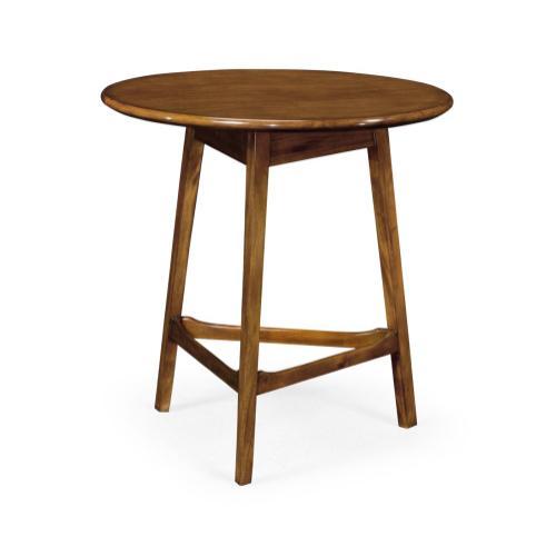 Round Honey Walnut Cricket End Table