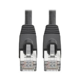 Cat6a 10G-Certified Snagless Shielded STP Ethernet Cable (RJ45 M/M), PoE, Black, 1 ft.