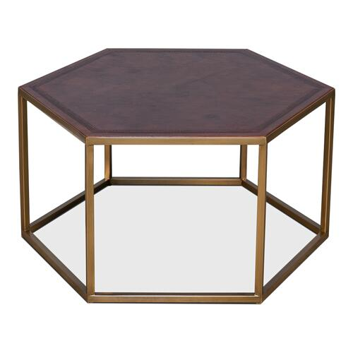 Hexagonal Embossed Leather Top Table