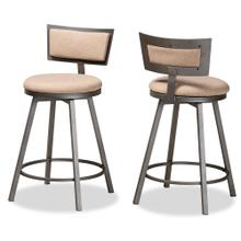See Details - Baxton Studio Danson Modern Industrial Light Brown Fabric Upholstered and Antique Grey Finished Metal 2-Piece Swivel Pub Chair Set