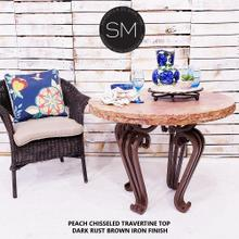 View Product - Ocassional Table Peach Chisseled - 1206L