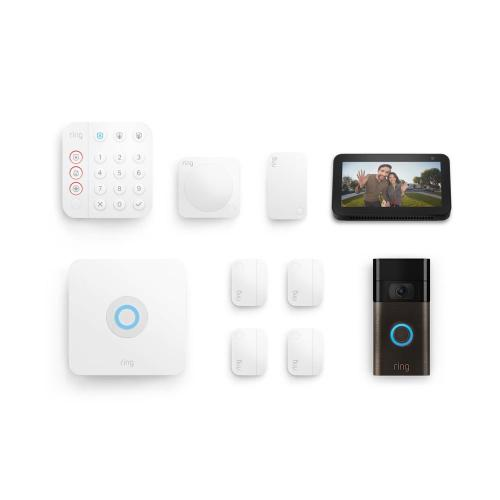 8-Piece Alarm Security Kit + Video Doorbell with Echo Show 5 - Venetian Bronze