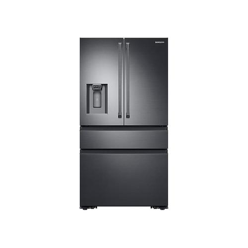 23 cu. ft. Counter Depth 4-Door French Door Refrigerator with Polygon Handles in Black Stainless Steel