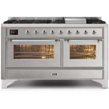 Majestic II 60 Inch Dual Fuel Natural Gas Freestanding Range in Stainless Steel with Chrome Trim